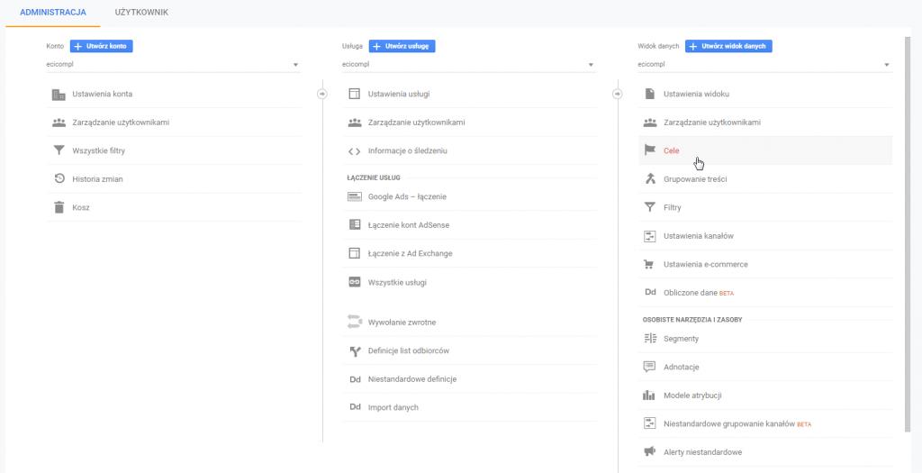 """Logujemy się zatem do Google Analytics i wchodzimy do zakładki """"Administracja"""", a następnie wybieramy """"Cele"""", i klikamy sobie na przycisk """" + Cel"""" (taki czerwony)."""
