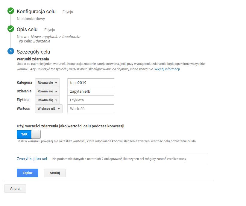 """W ostatnim kroku """"Szczegóły celu"""" uzupełniamy pola zgodnie z tym co podaliśmy w Google Tag Managerze"""