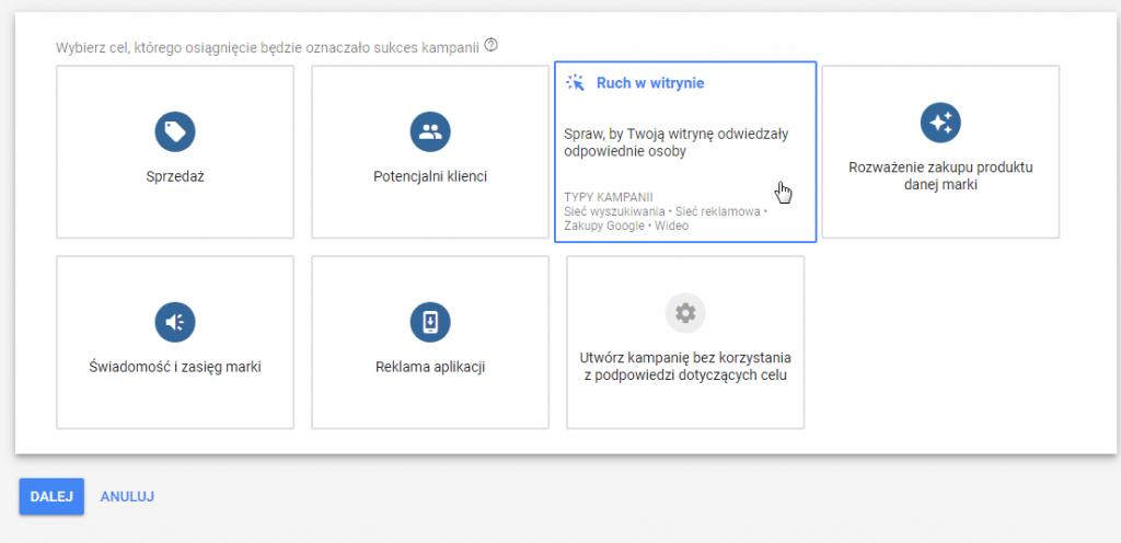 cel reklamowy google ads ruch w witrynie