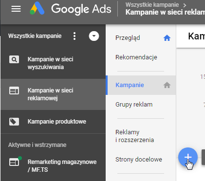 dodaj nową kampanię w sieci reklamowej google ads