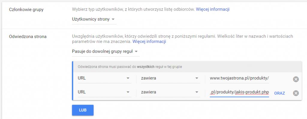 remarketing kategorii produktów w google ads