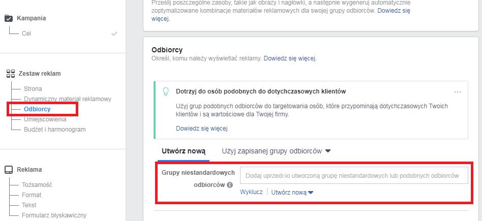 wybór grupy niestandardowych odbiorców w tworzeniu reklam facebook