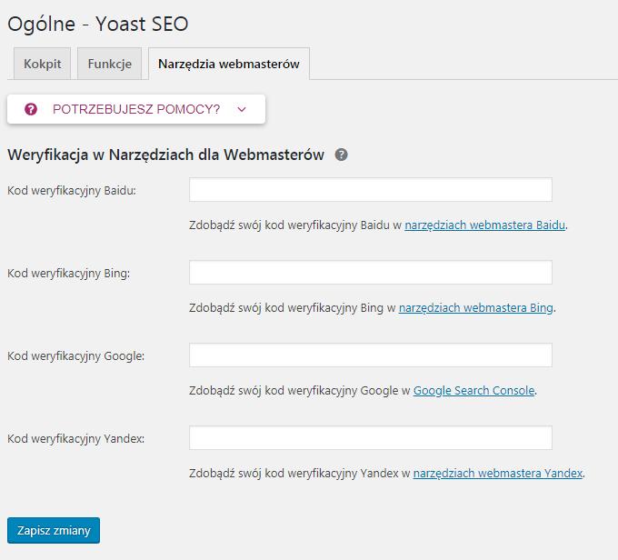 Narzędzia dla webmasterów yoast seo