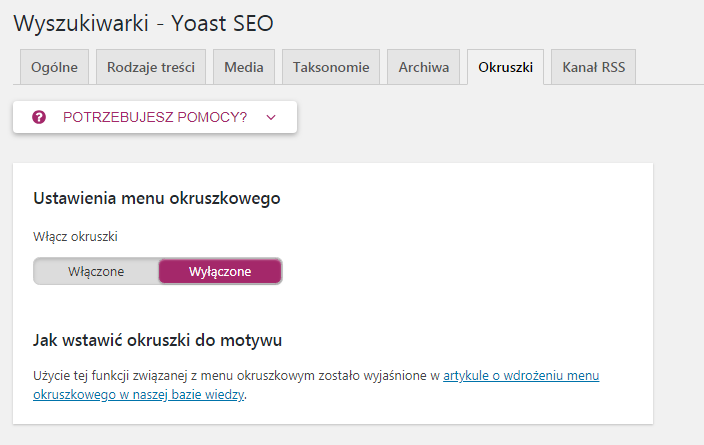 menu okruszkowe yoast seo wordpress