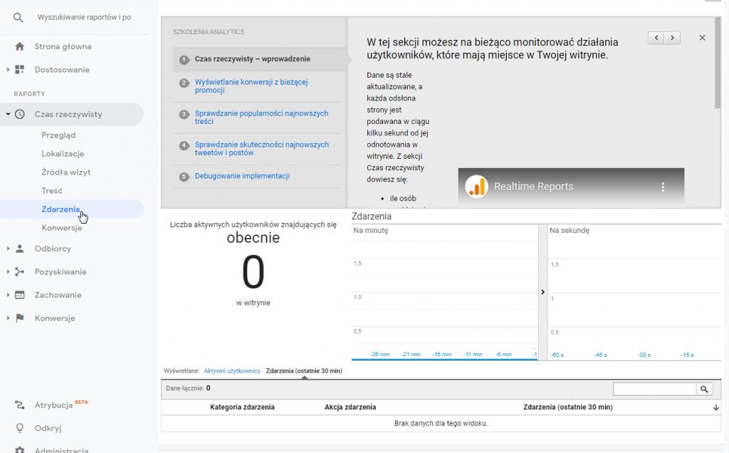 Google Analytics - odbieranie zdarzenia GTM w czasie rzeczywistym