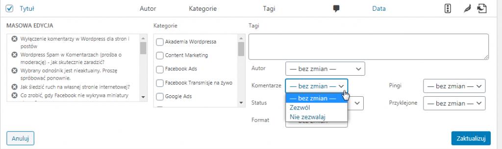 Wyłączenie komentarzy w WordPress dla stron i postów