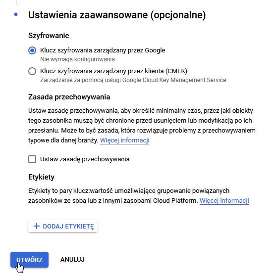 Dalsza konfiguracja Tworzenia Zasobnika w Google Cloud Platform