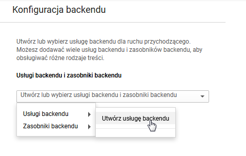 Równoważenie obciążeń HTTP(S): Konfiguracja backendu