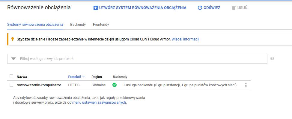 Konfiguracja frontendu: Równoważenie obciążenia (Google Cloud Platform)