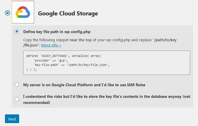 Ustawienia wtyczki Offload Media Lite dla Google Cloud Storage