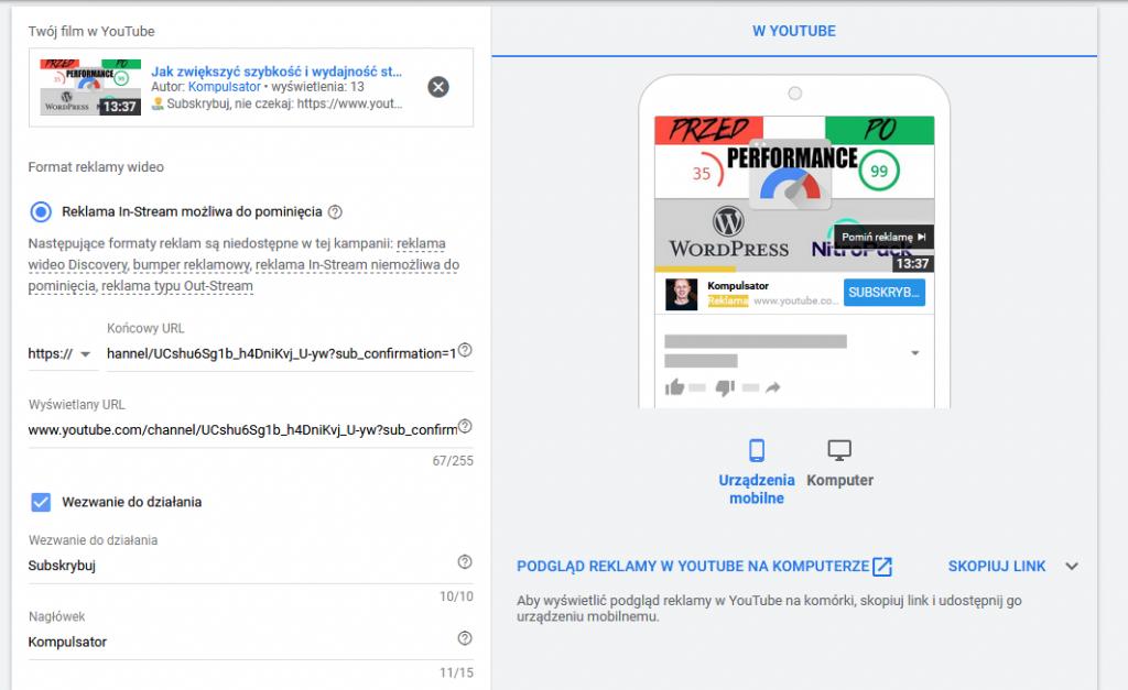 Subskrypcje YouTube - jak zdobyć realnych fanów reklamą Wideo (Google ADS)?